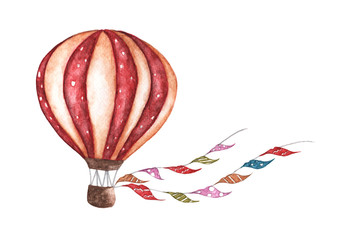 Vintage hot air balloon with flags garlands, polka dot pattern and retro design. Watercolor illustration. For design, print and background