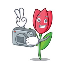 Photographer tulip mascot cartoon style