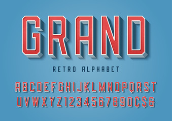 Grand trendy retro display font design, alphabet, typeface, lett