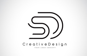 SD S D Letter Logo Design in Black Colors.