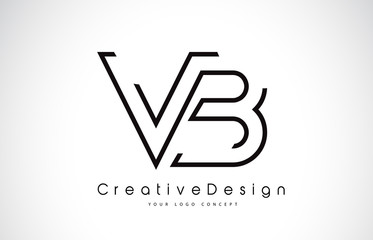 VB V B Letter Logo Design in Black Colors.