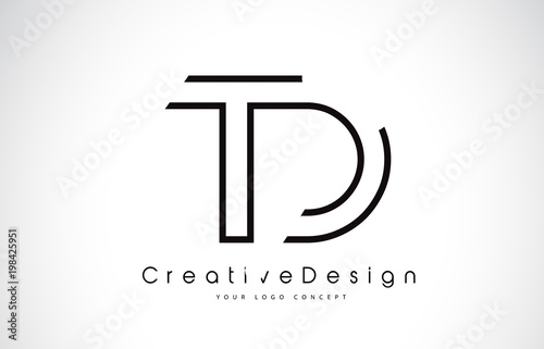 Td T D Letter Logo Design In Black Colors Stock Image And Royalty