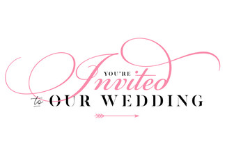 You are Invited Wedding Title for Card, Invitation. Elegant Handwritten Calligraphy. Luxury Label. Trendy Wedding Stamp Design with Lettering. Minimal Style. Black and Pink Colors.