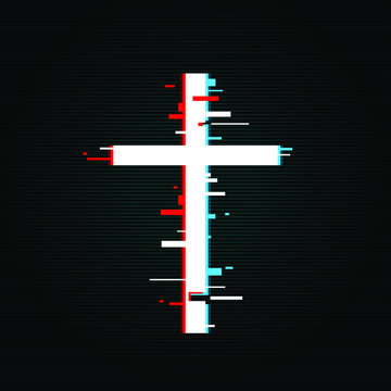 Christian cross in glitch, tv, vhs design, vector illustration isolated on black background with gradient lines