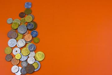worlds coins background orange texture, free sprace