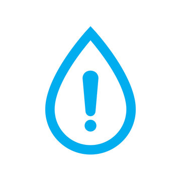 Water warning icon. Blue water drop with caution symbol isolated on white background. Vector illustration.