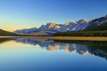 Lower Kananaskis Lake at sunset on a clear summer day, Alberta, Canada