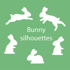 Bunny silhouettes in different poses