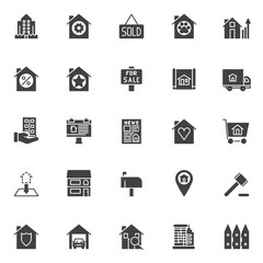 Real estate vector icons set, modern solid symbol collection, filled style pictogram pack. Signs, logo illustration. Set includes icons as building and fence, sold house, for sale signboard, billboard