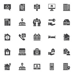 Estate vector icons set, modern solid symbol collection, filled style pictogram pack. Signs, logo illustration. Set includes icons as house in chat bubble, contract, house for rent sign board, office