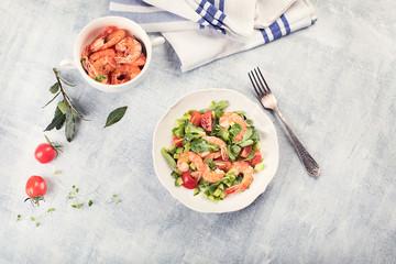 Fresh salad with shrimp.