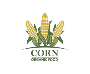 colored farm corn vegetable emblem