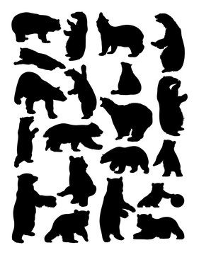 Bears animal silhouette.Vector, illustration. Good use for symbol, logo, web icon, mascot, sign, or any design you want.