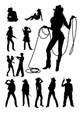 Cowboy and cowgirl detail silhouette.Vector, illustration. Good use for symbol, logo, web icon, mascot, sign, or any design you want.
