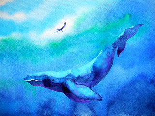human and whale diving swimming underwater together watercolor painting illustration hand drawn