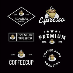 Coffee Shop round badges, emblems, labels or logos template set