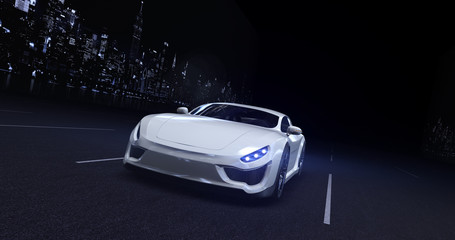 White sports car moving on highway in the city at night with headlights on