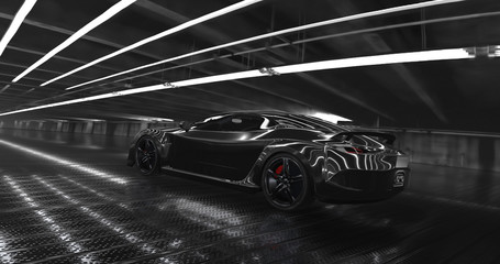 Luxury black concept sports car 3d render. Reflections all around.