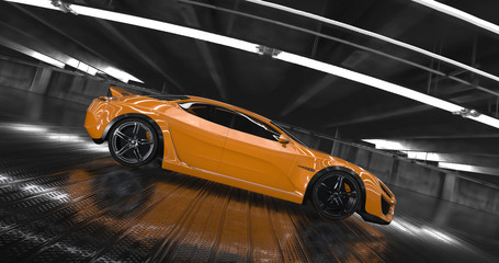 Luxury orange concept sports car 3d render. Reflections all around.
