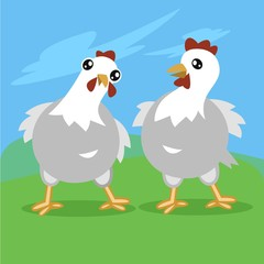 Two funny chicken illustration with blue sky and green grass background