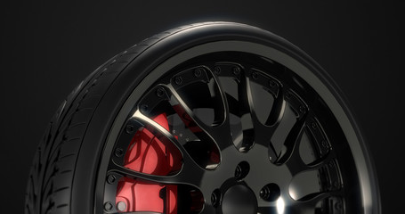 Close up sports car tire