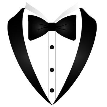 Man's jacket. Tuxedo. Weddind suit with bow tie. Vector illustration