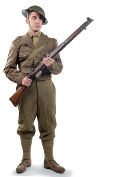 WW1 British Army Soldier from France 1918, on white