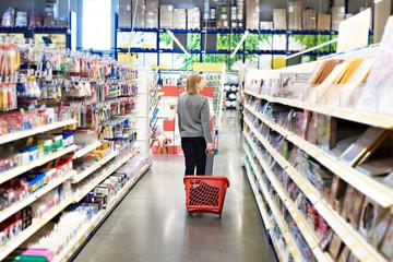 Woman with basket on wheels in hypermarket