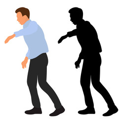 vector, isolated, flat style guy dancing