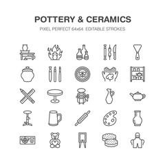 Pottery workshop, ceramics classes line icons. Clay studio tools signs. Hand building, sculpturing equipment - potter wheel, electric kiln, tools. Pixel perfect 64x64.