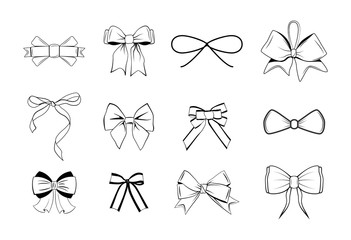 Bows Black and white silhouette images.  Illustration Isolated On White