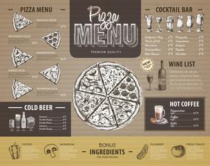 Vintage pizza menu design on cardboard. Restaurant menu