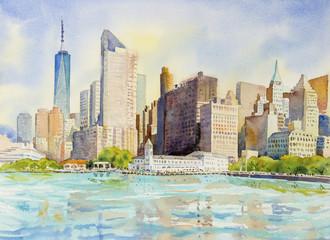 Manhattan urban skyscrapers in New York City.