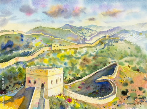 The Great Wall of China at Mutianyu. Watercolor painting\