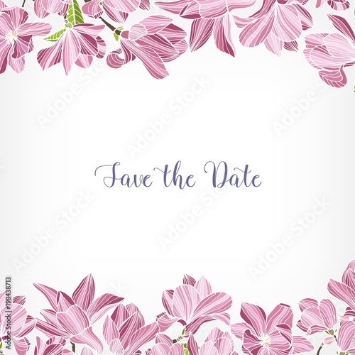 Save The Date Card Template Decorated With Floral Border Or Frame
