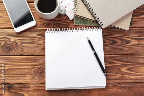 office table top view. Office Desk Table Top View. Notepad With Blank Pages On Wooden View