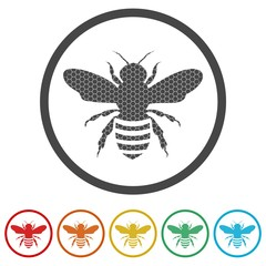 Bee Silhouette icon, 6 Colors Included