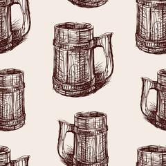 Seamless background of a beer mug sketch
