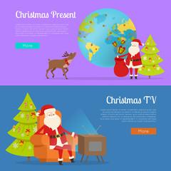 Christmas Present and TV Programme with Santa