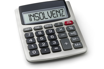 Taschenrechner mit dem Wort Insolvenz im Display