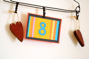Number 8 anniversary celebration card against a bright white background