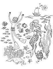 Русалочка и мальчик плавают под водой. Графическая иллюстрация. Подводный мир, водоросли и кораллы, рыбы и черепахи
