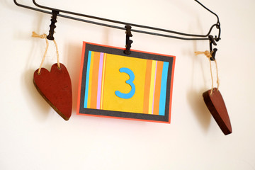 Number 3 anniversary celebration card against a bright white background