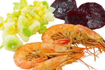 Shrimps, beetroot, leek, and corn isolated on white.