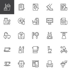 Morning time outline icons set. linear style symbols collection, line signs pack. vector graphics. Set includes icons as mop and bucket, washing machine, jogging, news, bath, toothbrush, toilet