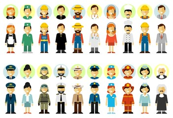People occupation characters set in flat style isolated on white background. Different people professions characters. Full length and avatars