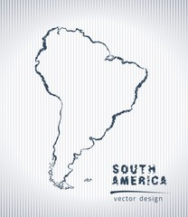 south america vector chalk drawing map isolated on a white background