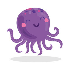 Violet octopus purple cute cartoon character object icon isolated on white background,vector illustration.