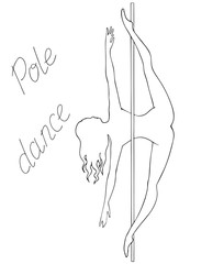 silhouette women pole dance black and white