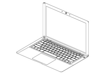 Laptop 3D blueprint - isolated